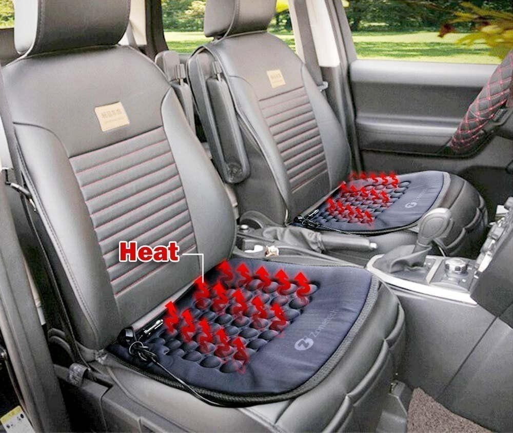 Zone Tech 2x Car Heated Seat Cushion Hot Cover Auto 12v Heater Warmer Pad