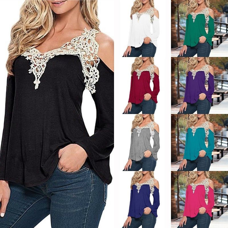 Cold Shoulder Springish Top With Crochet Neckline in 10 Colors - Teal Ocean, Small 58d832c4db2cdc4a380f9308