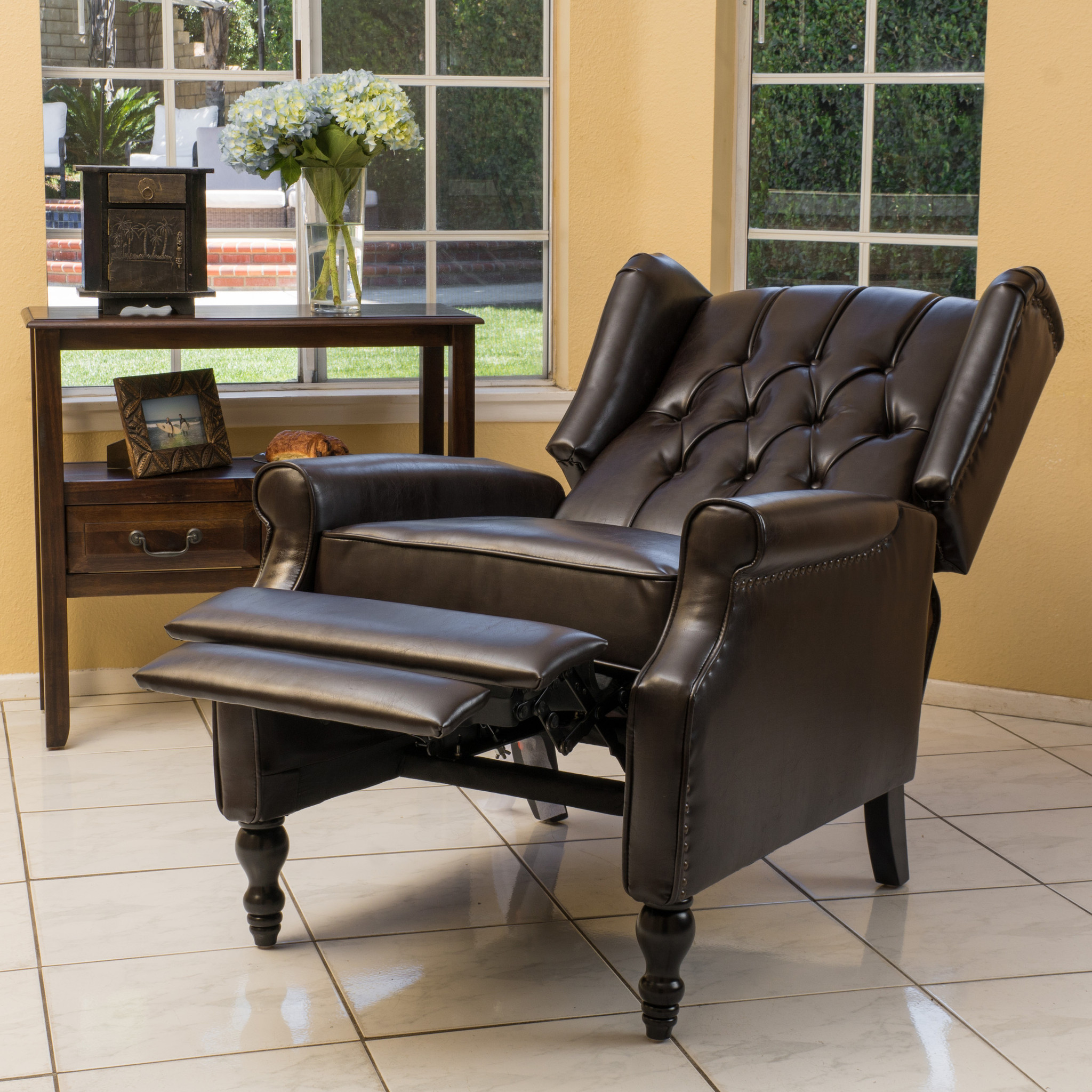 Temzyl Contemporary Brown Leather Recliner Chair 5840725ee2246170dc78e7a3