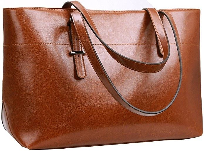 Women's Shoulder Bag Large Handbag Soft Leather Tote Purses - Brown (UNCLETH-CAE4) photo