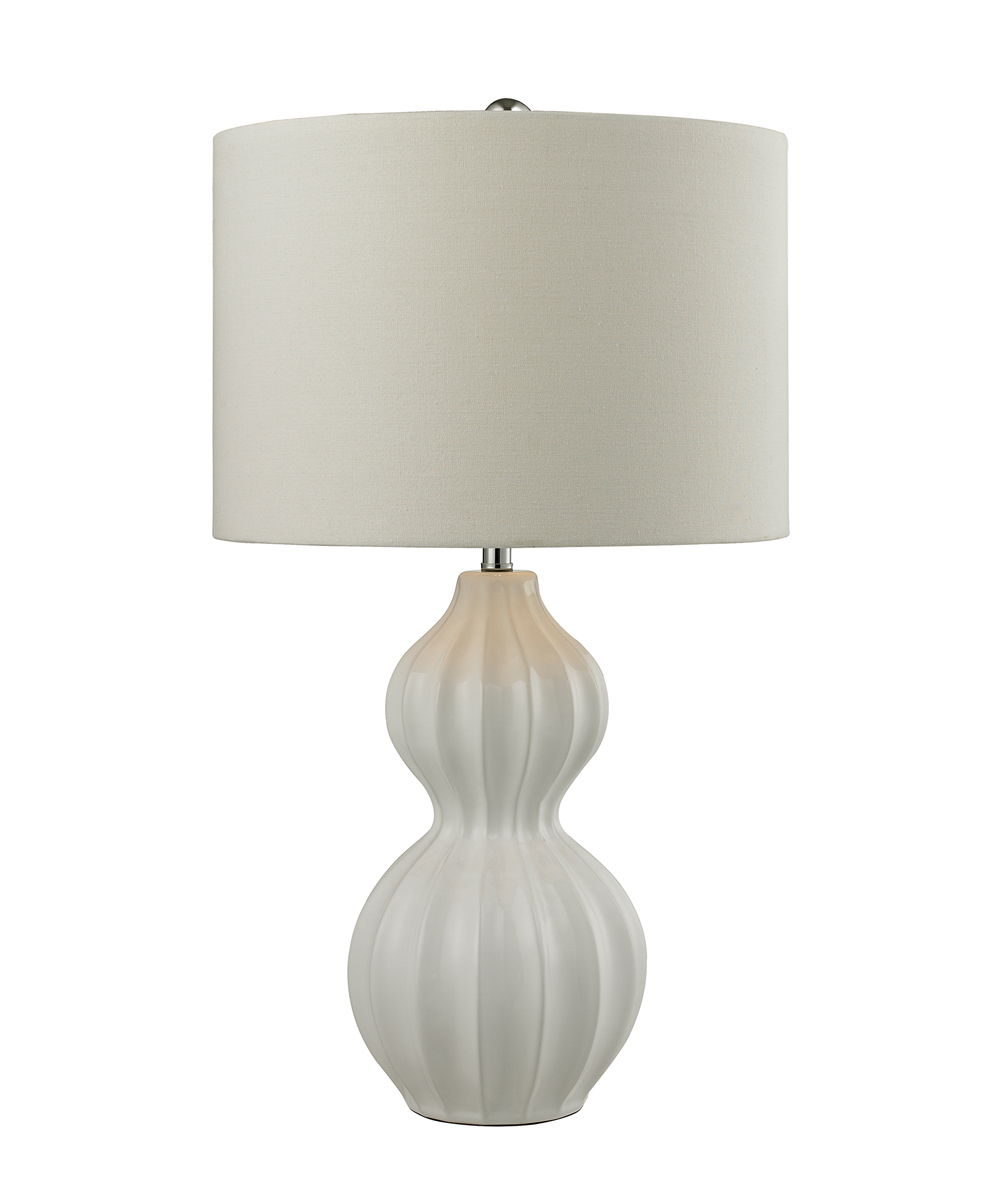 Dimond Lighting Ribbed Gourd Table Lamp in Gloss White Ceramic 58de20ad2a00e47e6f5a838c