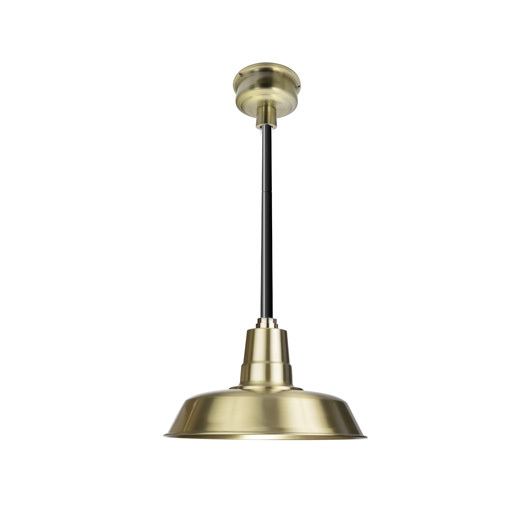 """18\"""" Oldage LED Pendant Light in Solid Brass with Black Downrod"""