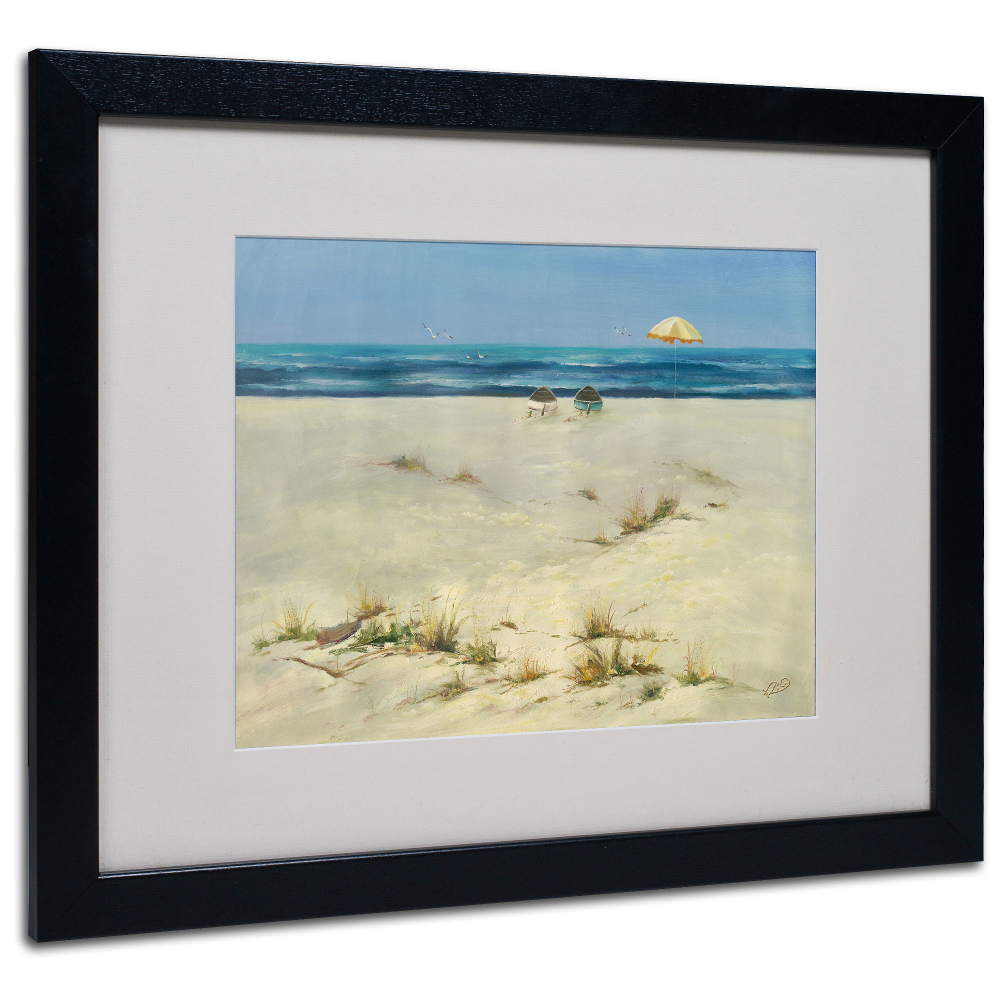 Rio 'Two Small Boats' Black Wooden Framed Art 18 x 22 Inches