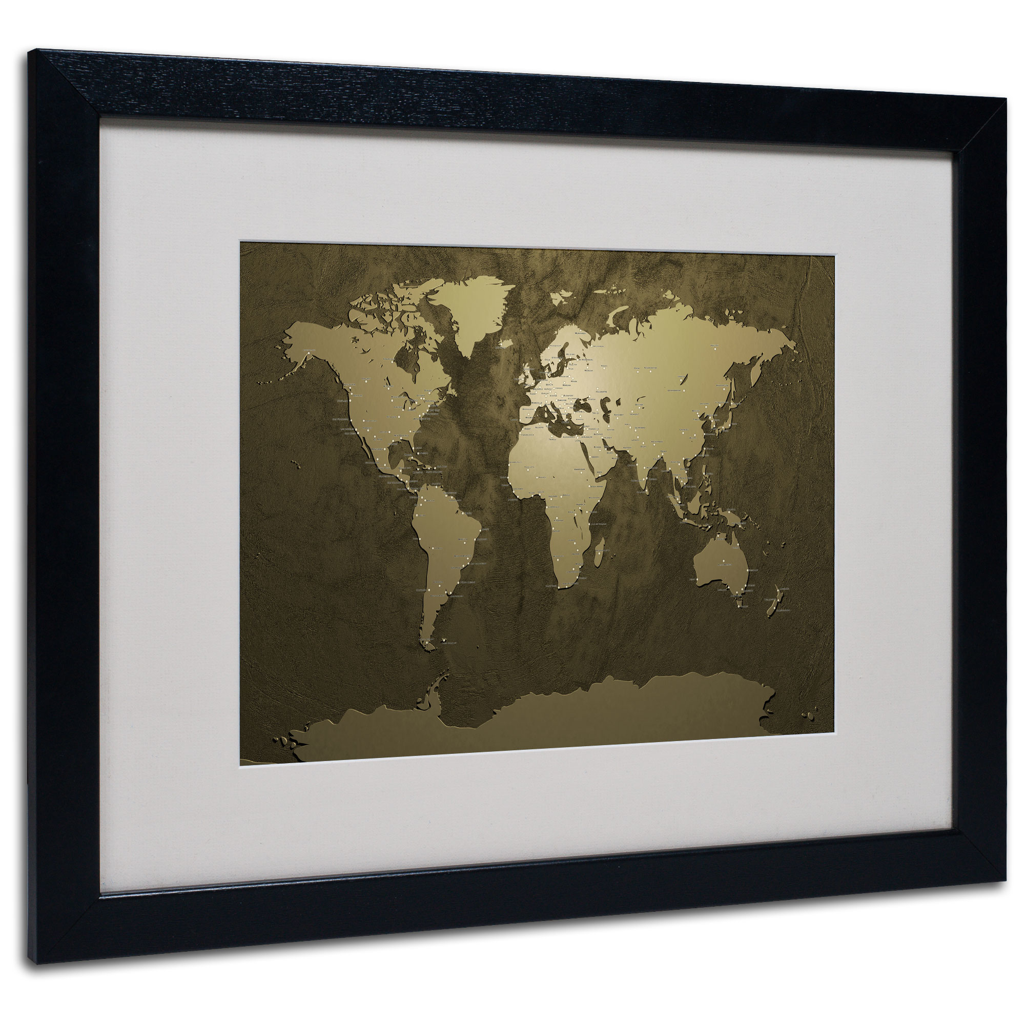 Michael Tompsett 'Gold World Map' Black Wooden Framed Art 18 x 22 Inches