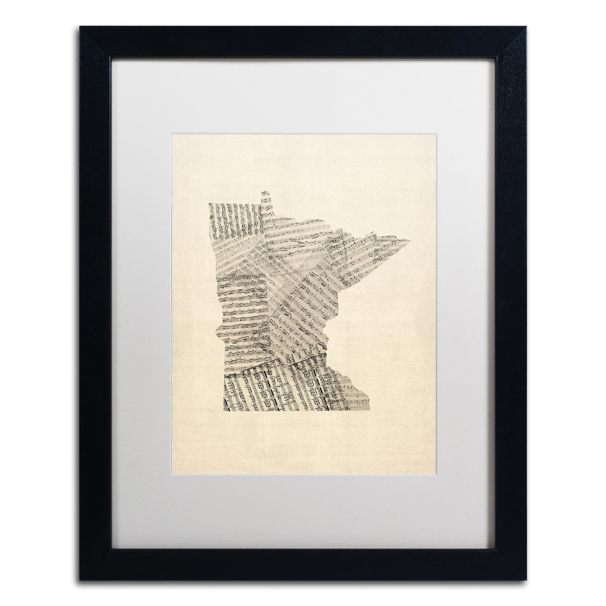 Michael Tompsett 'Old Sheet Music Map of Minnesota' Black Wooden Framed Art 18 x 22 Inches