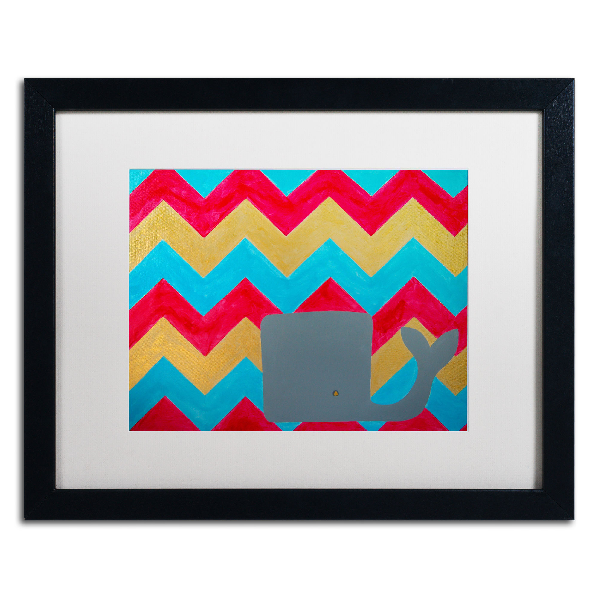 Nicole Dietz 'Pink and Gold Whale Chevron' Black Wooden Framed Art 18 x 22 Inches