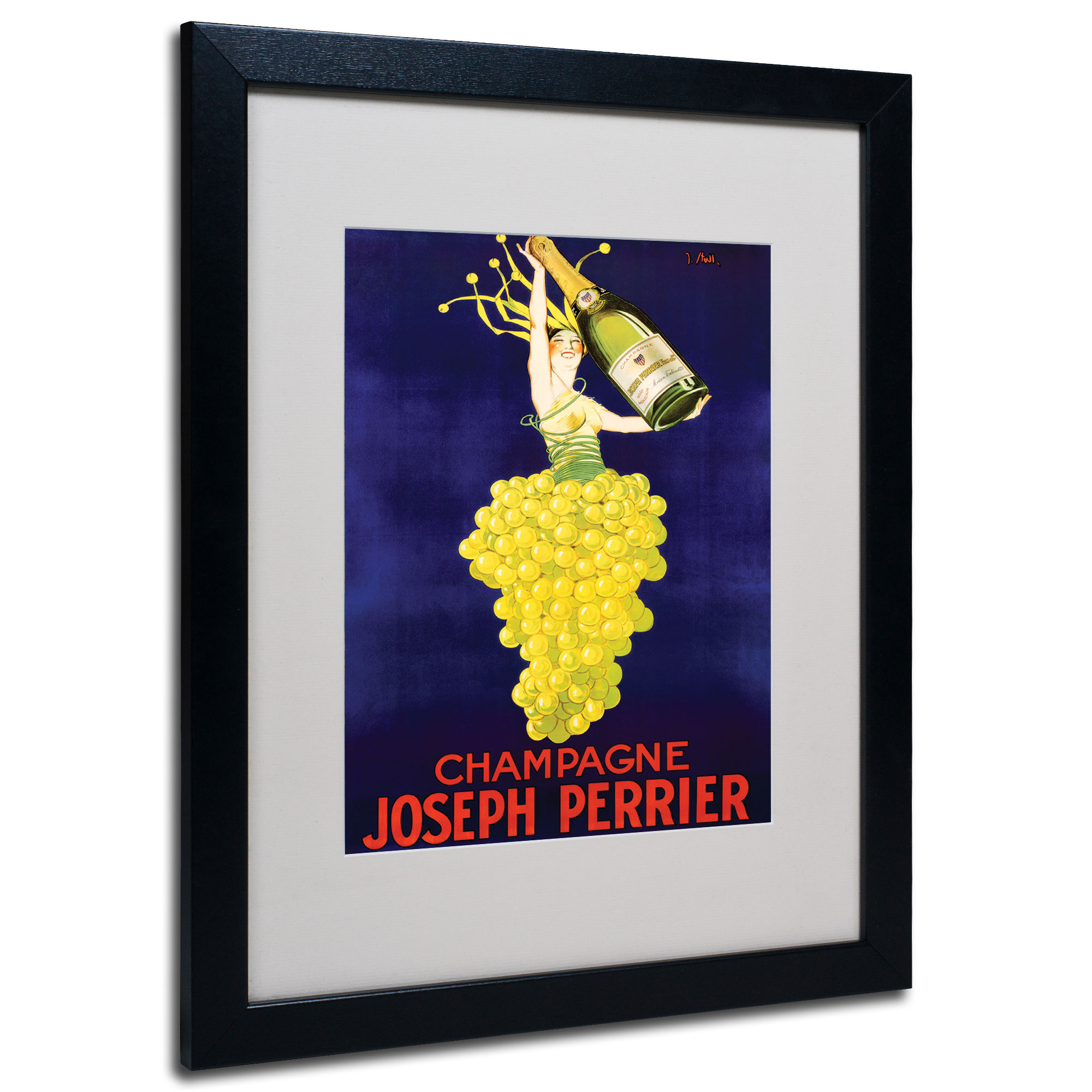 Champagne Joseph Perrier' Black Wooden Framed Art 18 x 22 Inches