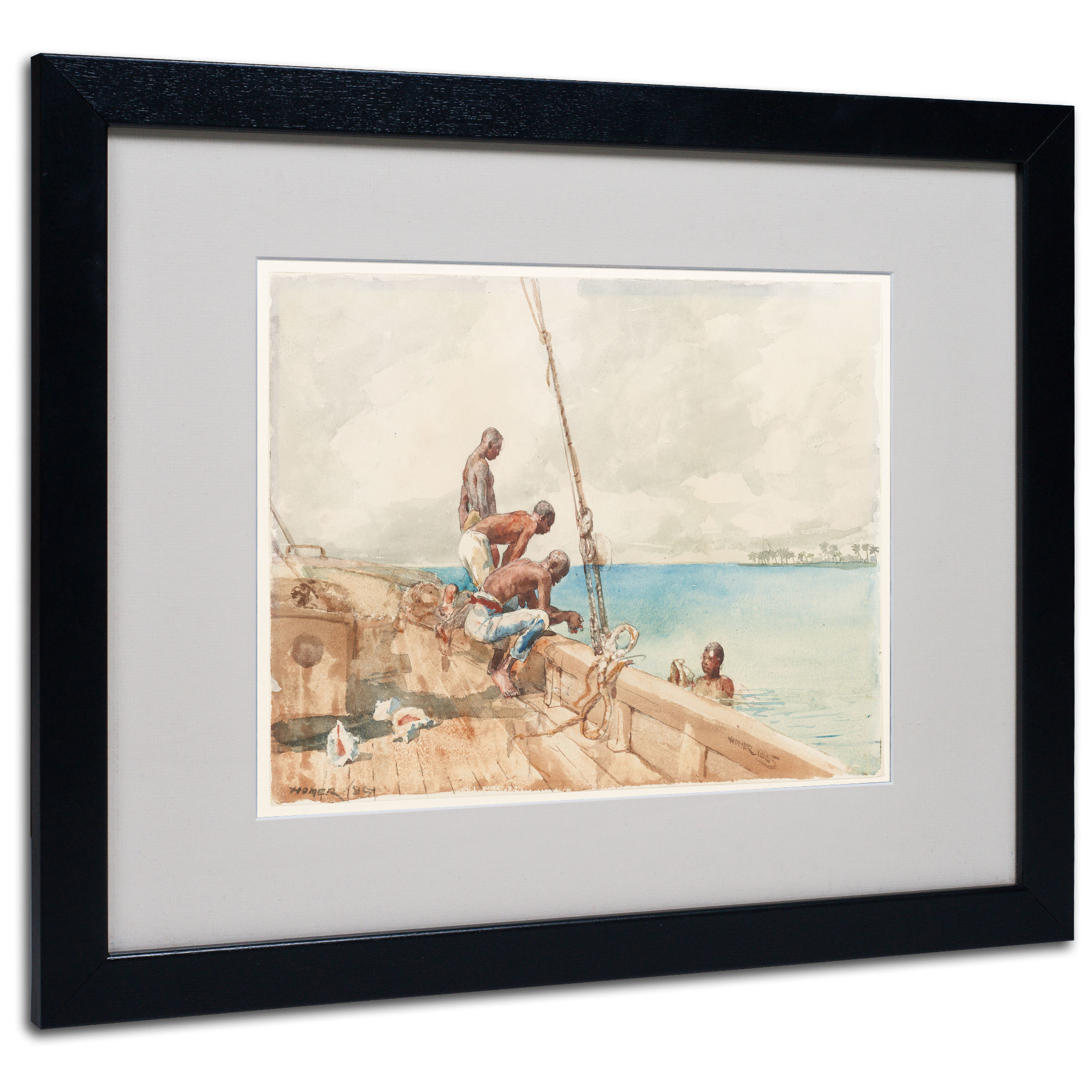 Winslow Homer 'The Conch Divers 1885' Black Wooden Framed Art 18 x 22 Inches
