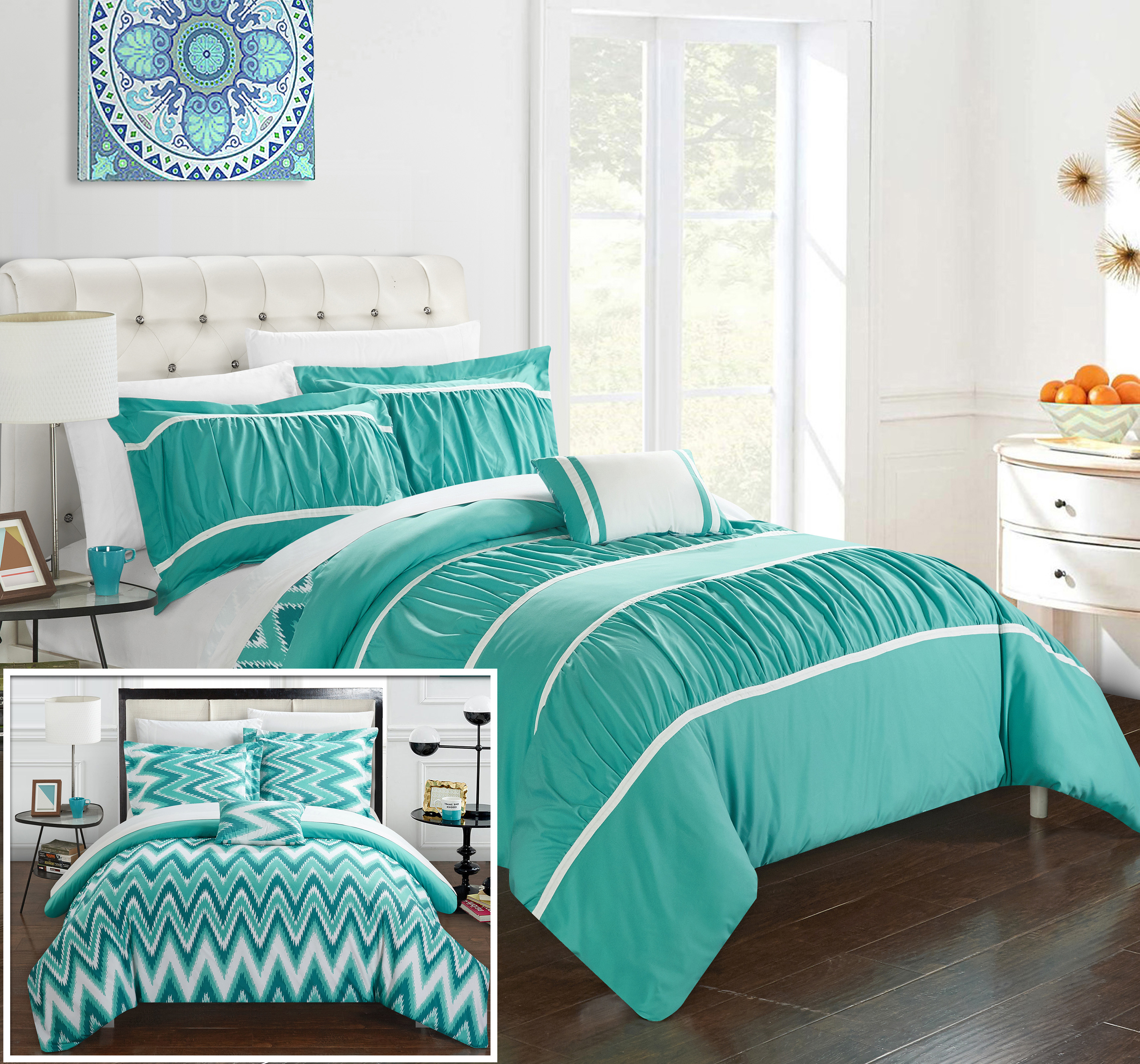 Chic Home 3/4 Piece Lucia Pleated & Ruffled With Chevron Reversible Backing Comforter Set Shams And Decorative Pillows Included - Turquoise, King