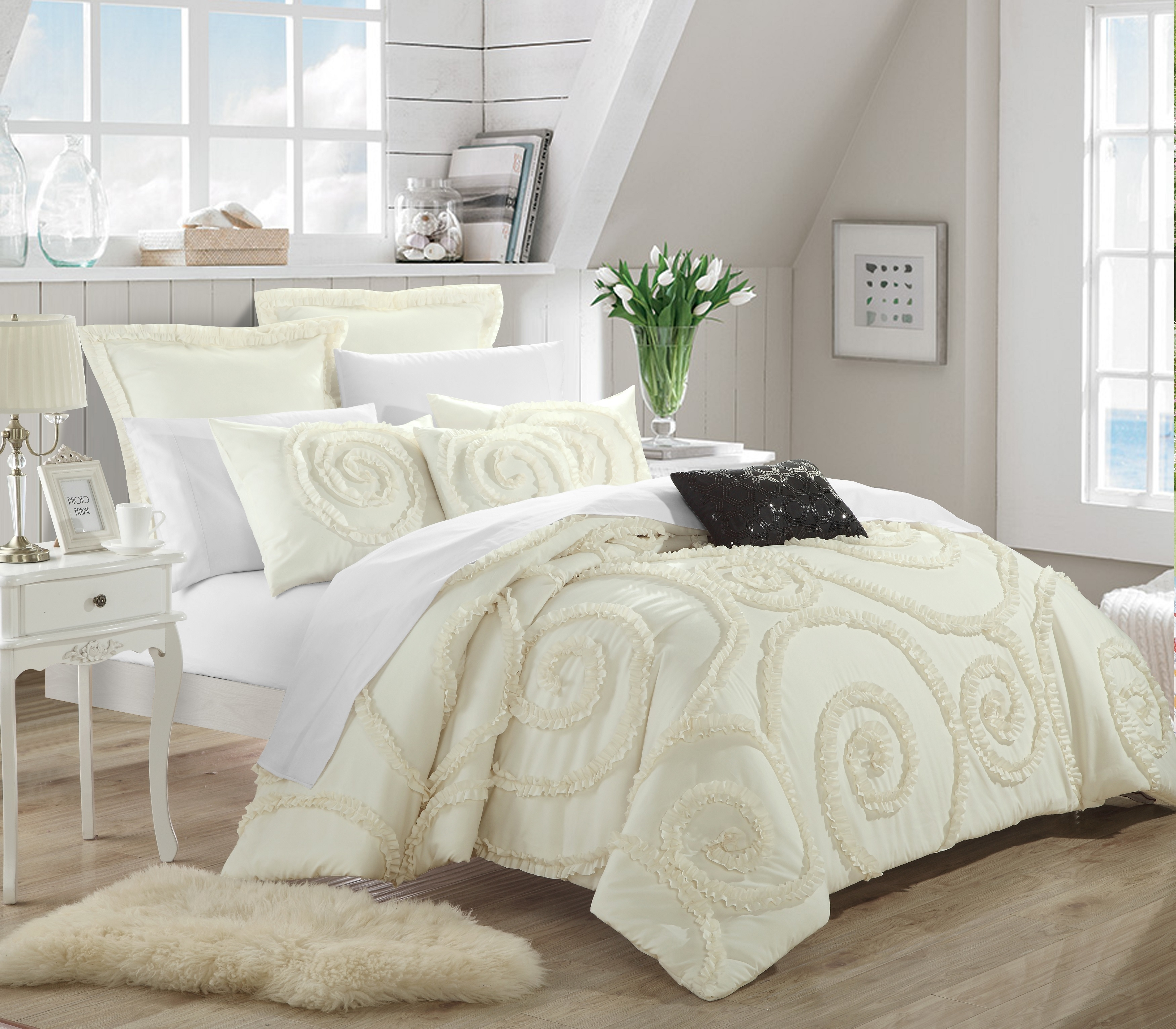 Chic Home Rosalinda 7-piece Ruffled Etched Embroidery Comforter Set, Bed In A Bag, 4 Shams And 2 Throw Pillows Included - Beige, Queen