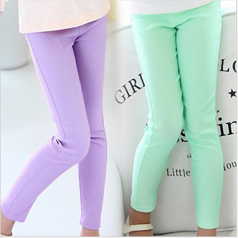 Girl Leggings Classic Skinny Pencil Long Pants Solid Candy Color for Girls Middle Children Long Trousers Baby Kids – Beige, 5