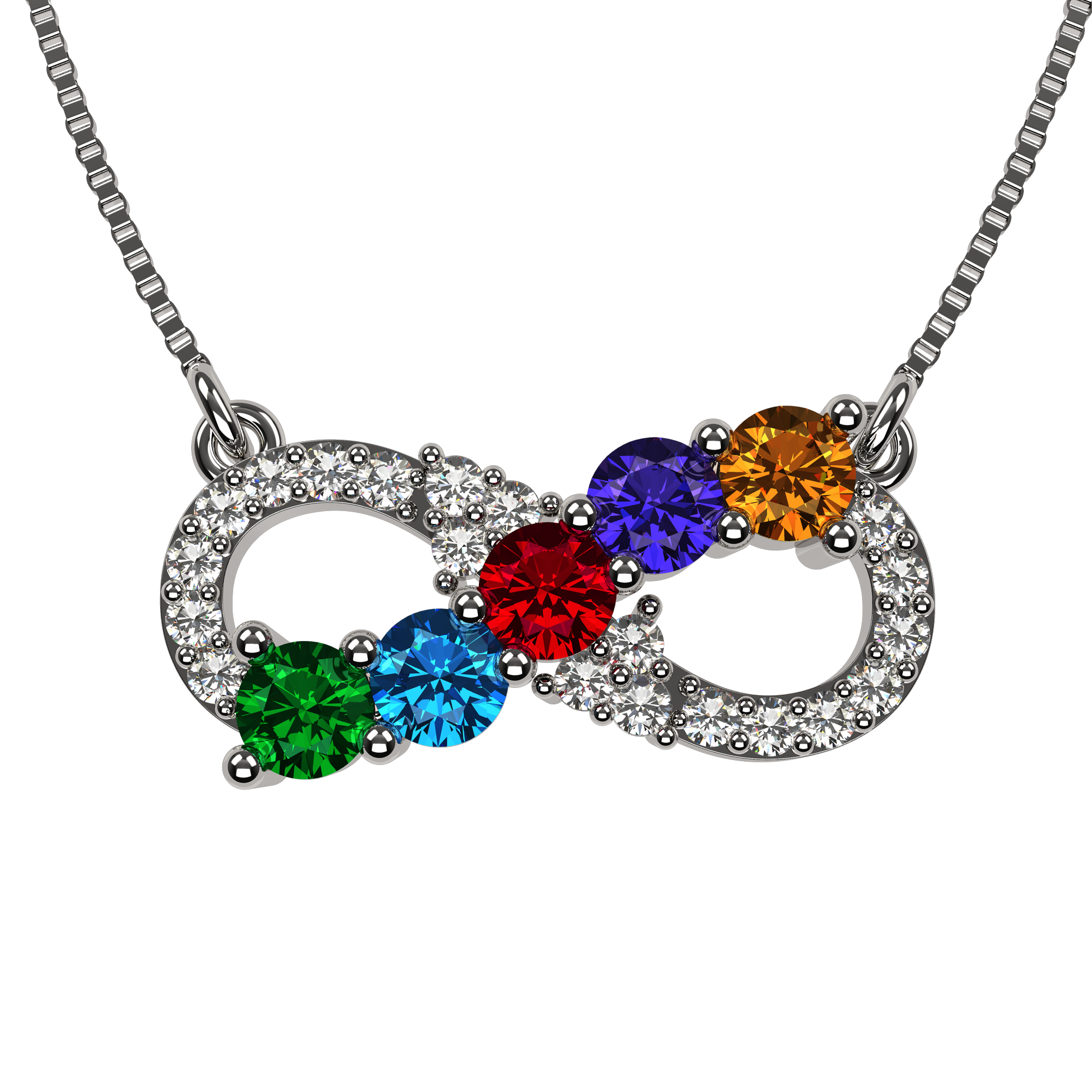 """NANA_Infinity_Mother's_Necklace__1_to_6_Stones_with_1mm_18""""_to_20""""_Adj"""