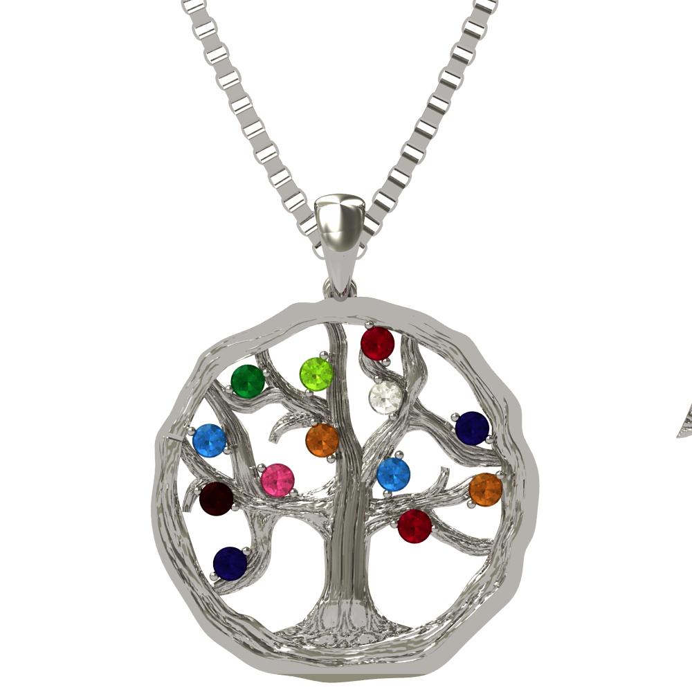 """NANA_Tree_of_Life_Mother's_Pendant_1-12_Stones_with_a_.07mm_22""""_Adj._Box"""