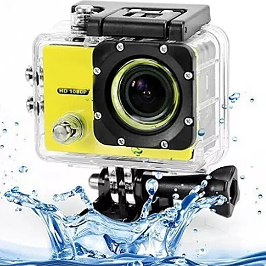 All Pro 1080p Action Sports Camera with Waterproof Accessory Case - Yellow 59149a114fe4e54b2124c9a1
