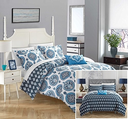 Chic Home 4 Pc. Versailles 100% Cotton 200 Thread Count Medallion Inspired Printed Reversible Duvet Cover Set W/ Shams & Decorative Pillows - Blue, King