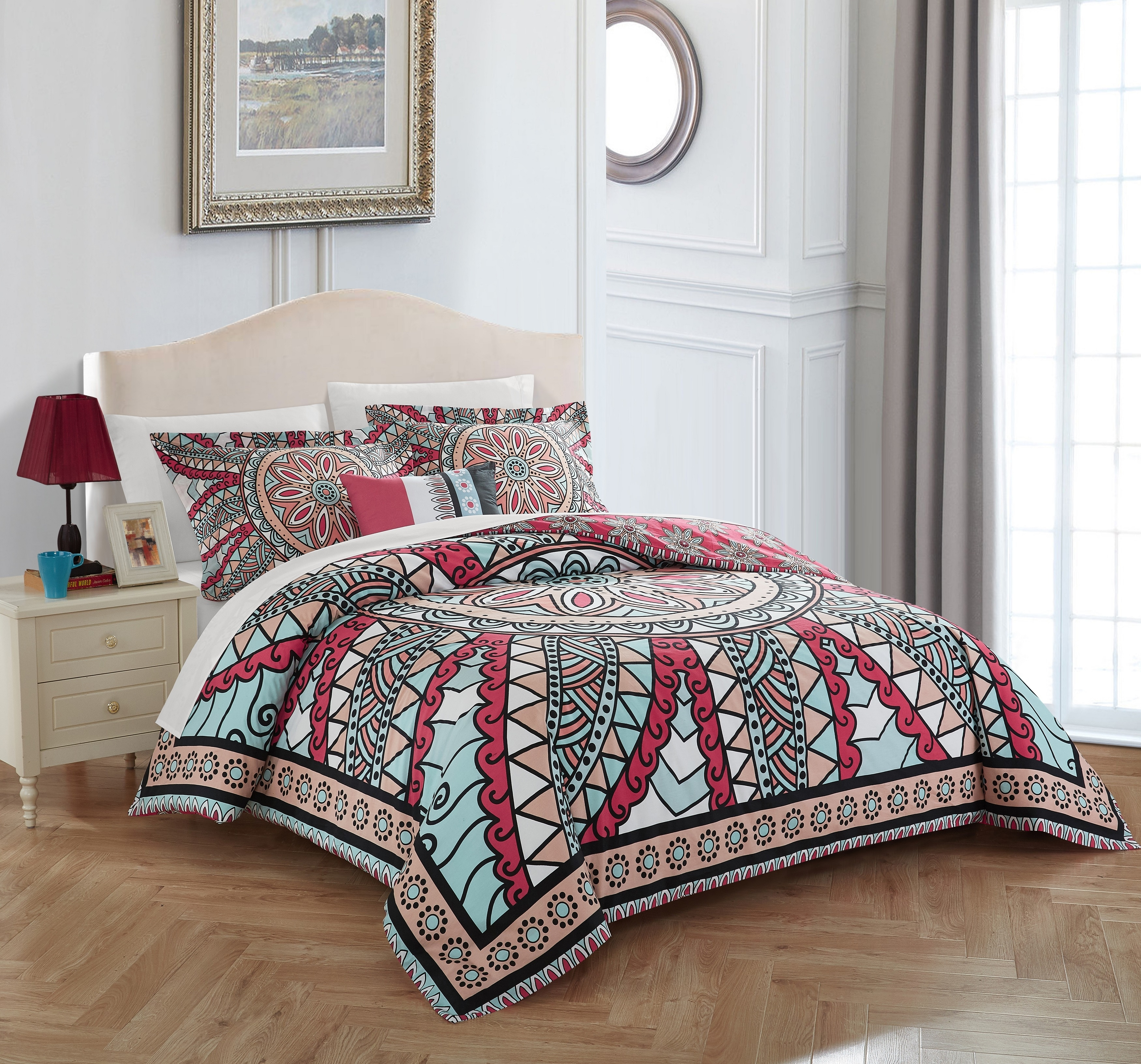 Chic Home 4 Pc. Aiyana 100% Cotton 200 Thread Count Xl Panel Framed Boho Printed Reversible Duvet Cover Set W/ Shams & Decorative Pillows - King