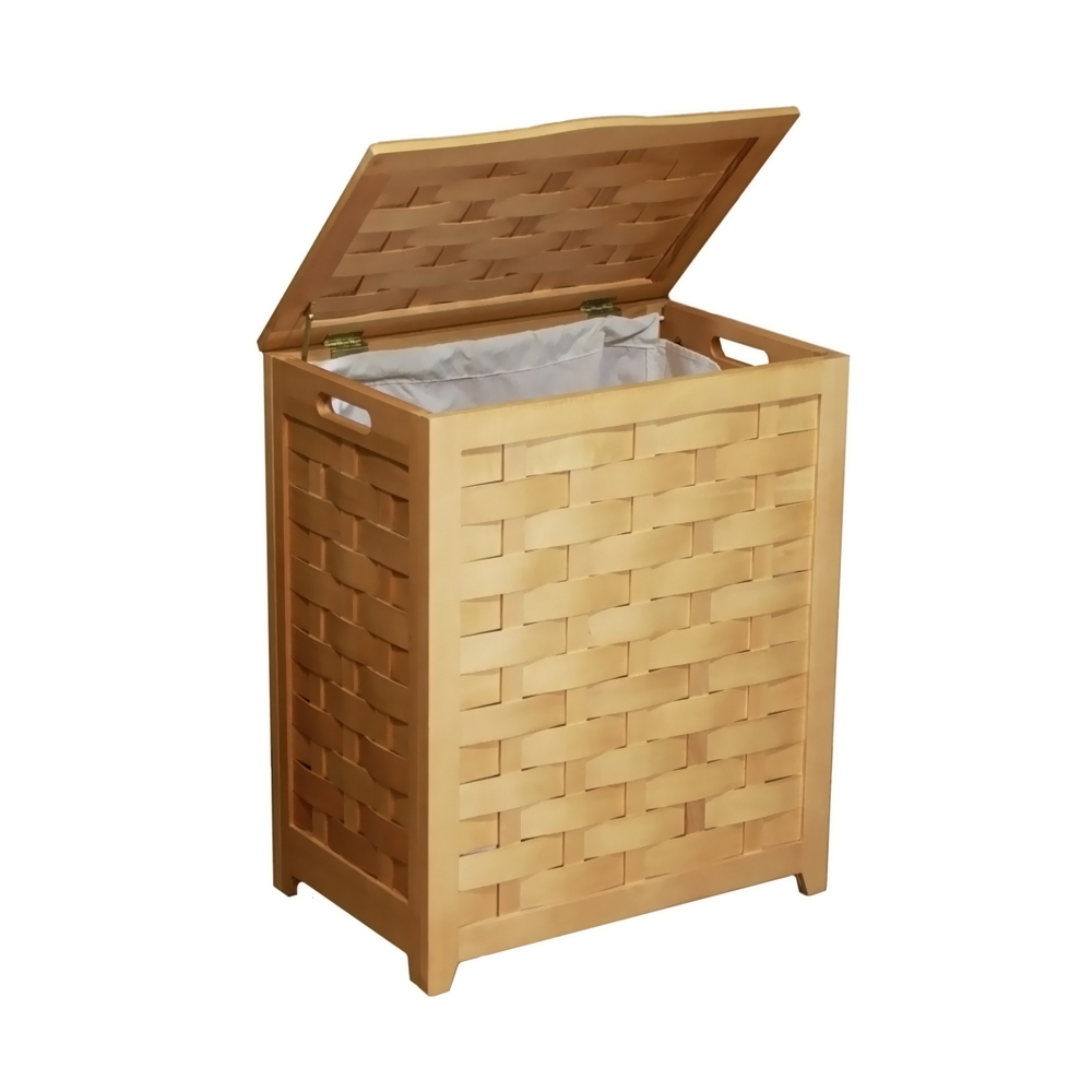 Oceanstar Rectangular Veneer Laundry Wood Hamper with Interior Bag 591aeb5d2a00e445c9306ac4