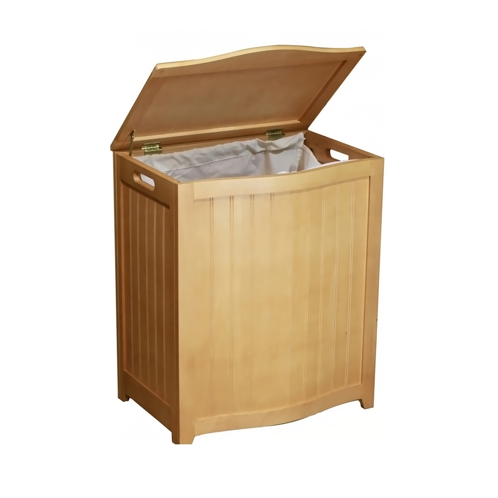 Oceanstar Bowed Front Laundry Wood Hamper with Interior Bag 591aeb5d2a00e445c9306ad1