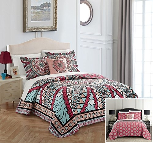 Chic Home 4 Pc. Hakan 100% Cotton 200 Thread Count Xl Panel Framed Vintage Boho Printed Reversible Quilt Set W/ Shams And Decorative Pillows - King