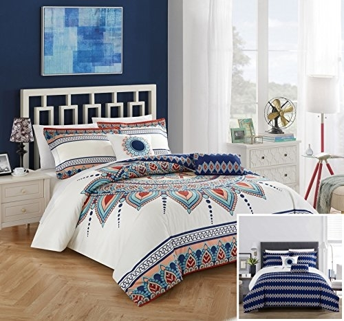 Chic Home 5 Piece Popo 100% Cotton 200 Thread Count Xl Panel Frame Boho Printed Reversible Comforter Set W/ Shams And Decorative Pillows - King