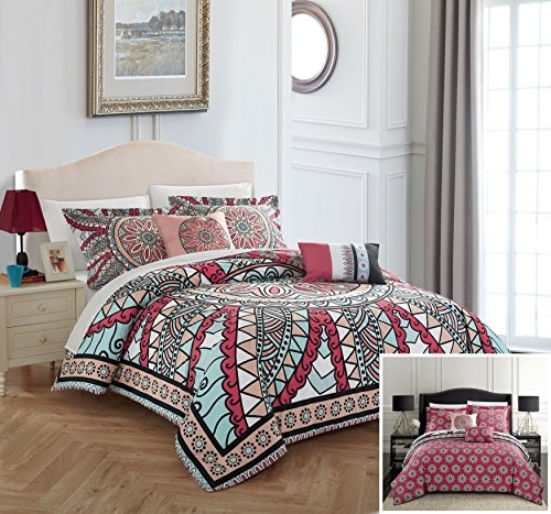 Chic Home 5 Piece Perce 100% Cotton 200 Thread Count Xl Panel Framed Boho Printed Reversible Comforter Set W/ Shams & Decorative Pillows - King
