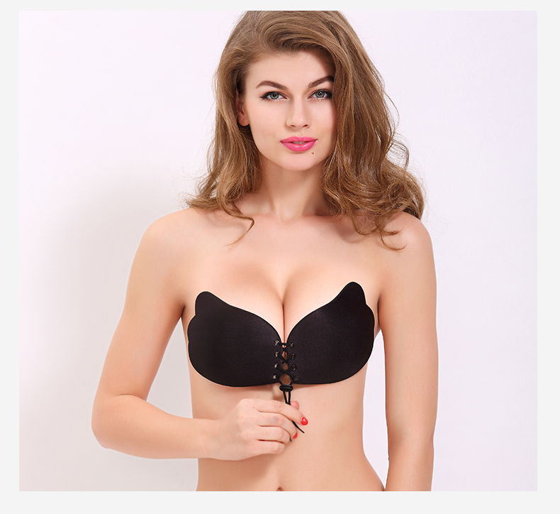 Lace Up Self Adhesive Push Up Bra - Black, A CUP 591c6dff4a519f2177511a6e