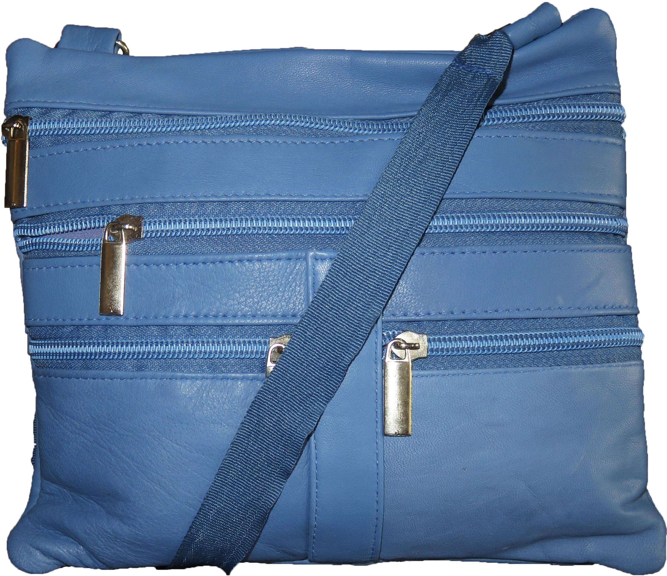 AFONiE Genuine Leather Fashion CrossBody Bag Baby Blue Color