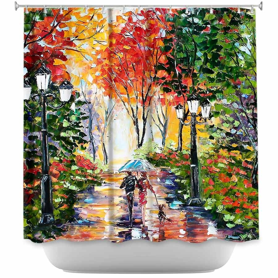 Shower Curtain - DiaNoche Designs - Walking the Dog