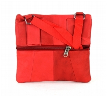 Multipocket Leather Neck Purse - red (iLEATHERSTORE) photo