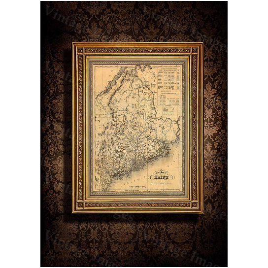 """Map of Maine 1846 Old Maine Map Old Historic Map of Maine Antique Restoration Hardware Style Maine state Wall Map home office decor gift - 16\"""" x 20\"""" Inches"""
