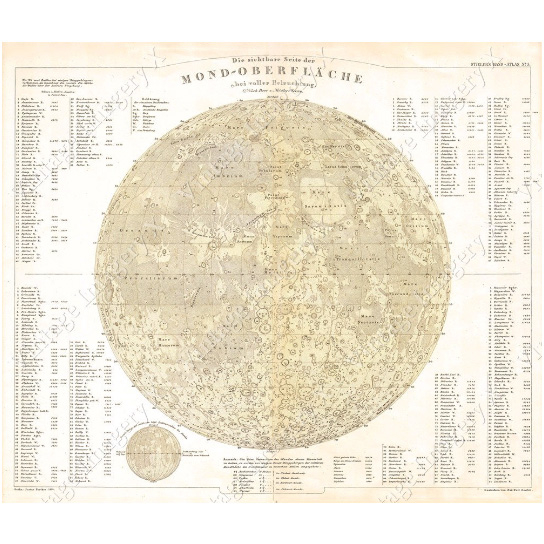 Moon map Large Vintage Historic Perthes 1880 Map Of The Moon Old Antique Lunar Map Restoration Hardware style Fine Art Print Giclee Poster