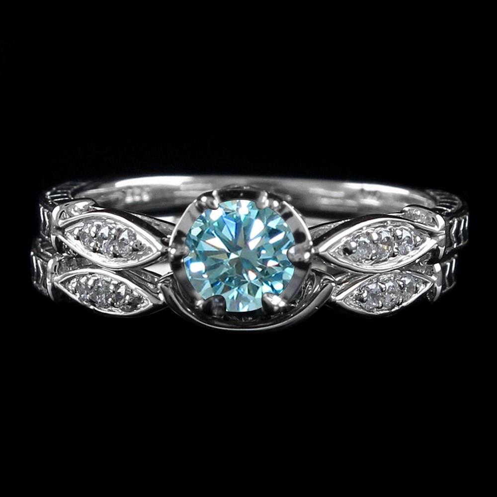 5_Ct_Light_Blue_Moissanite_2_Piece_Bridal_Set_Wedding_Rings_In_Sterling