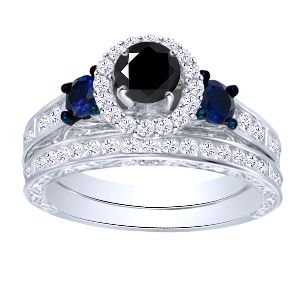 15_Ct_Black_Moissanite_Three_Stone_Bridal_Set_In_10K_White_Gold__With