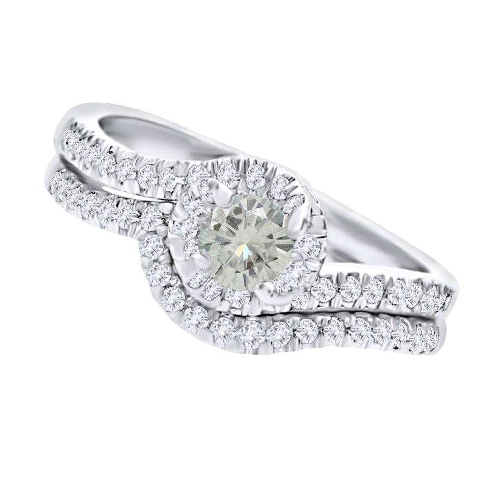 925_Silver_225_Ct_Moissanite_Engagement_&_Wedding_Ring_Set_Bridal__With