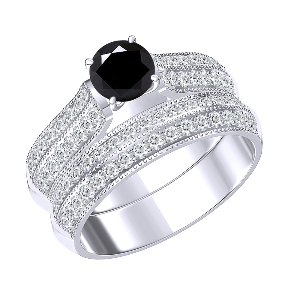 5_Ct_Black_Moissanite_Sterling_Silver_Engagement_B&_Bridal_Ring_Set_