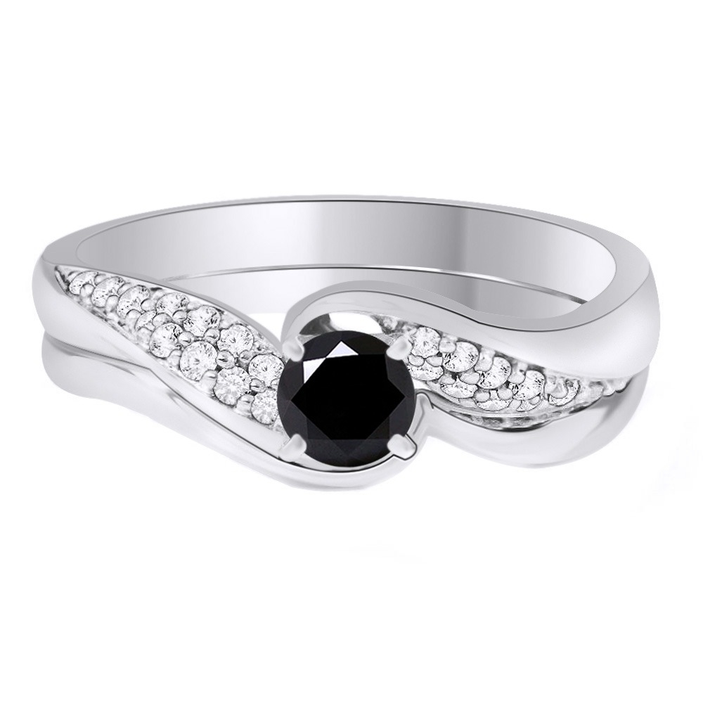 Sterling_Silver_225_Ct_Black_Moissanite_Bridal_Set_Wedding_Ring_Jewelry