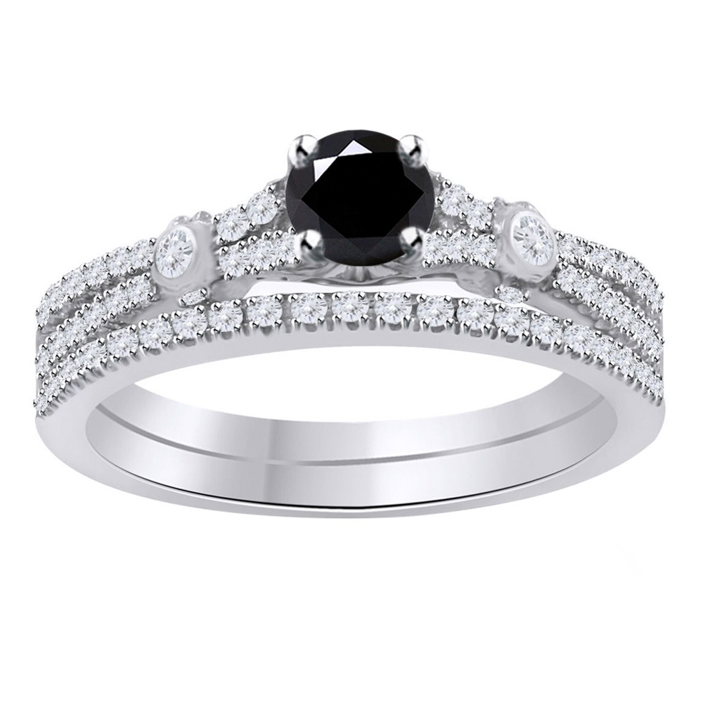 5_Ct_Round_Black_Moissanite_Sterling_Silver_Bridal_Set_Engagement_Ring