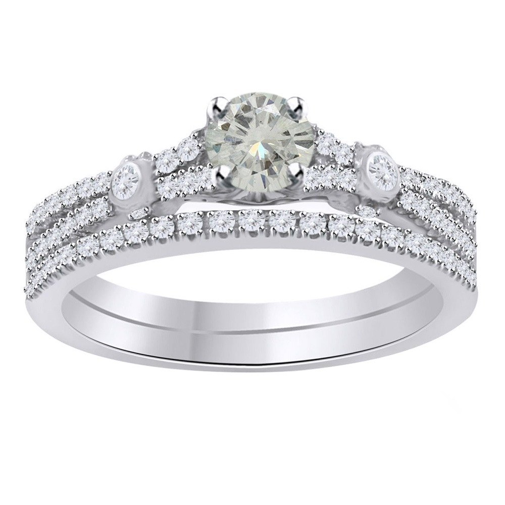 15_Ct_Round_Moissanite_10K_White_Gold_Bridal_Set_Engagement_Ring__With