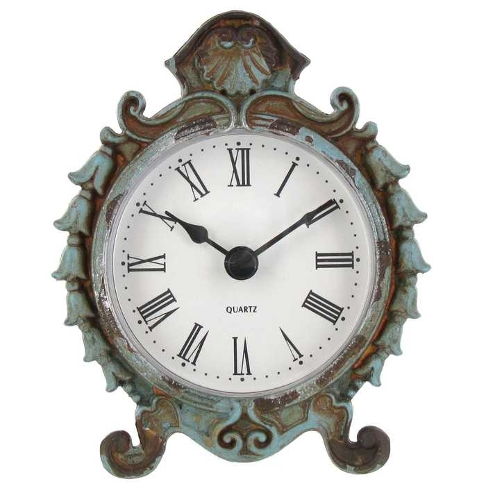Shabby Chic Antique Blue Pewter Table Clock