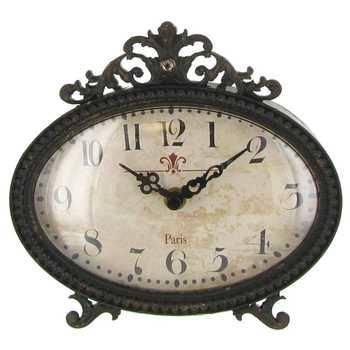 Shabby Chic Black Pewter Table Clock