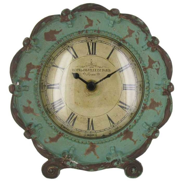 Shabby Chic Antique Turquoise Pewter Table Clock