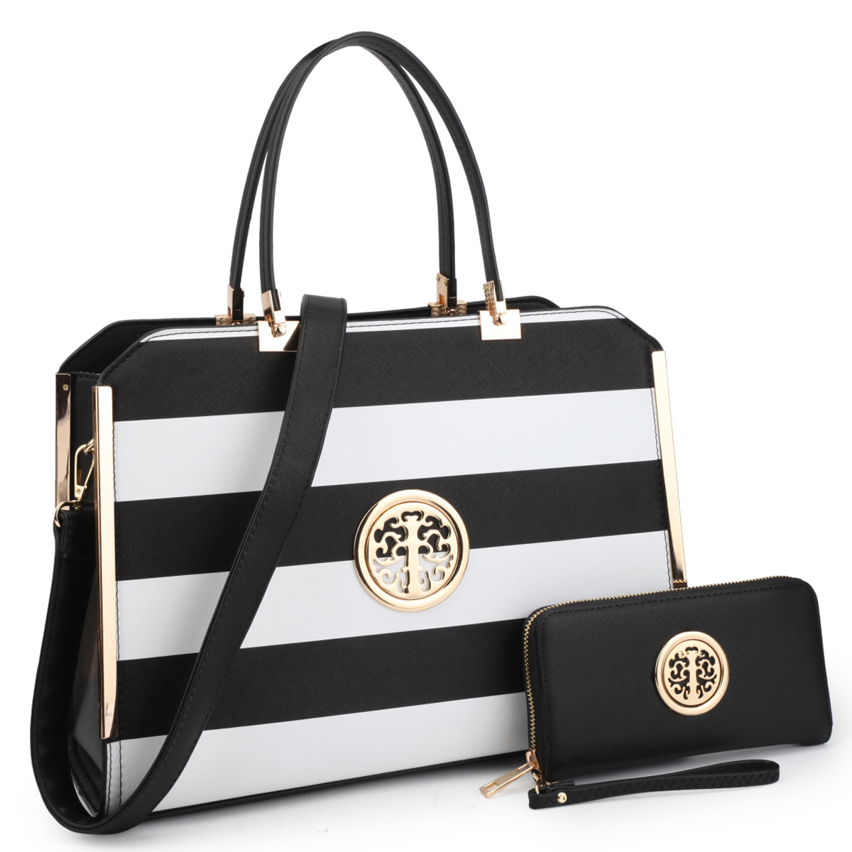 Dasein Womens Fashion Designer Purse Striped Faux Leather Briefcase with Matching Wallet - Black/White photo