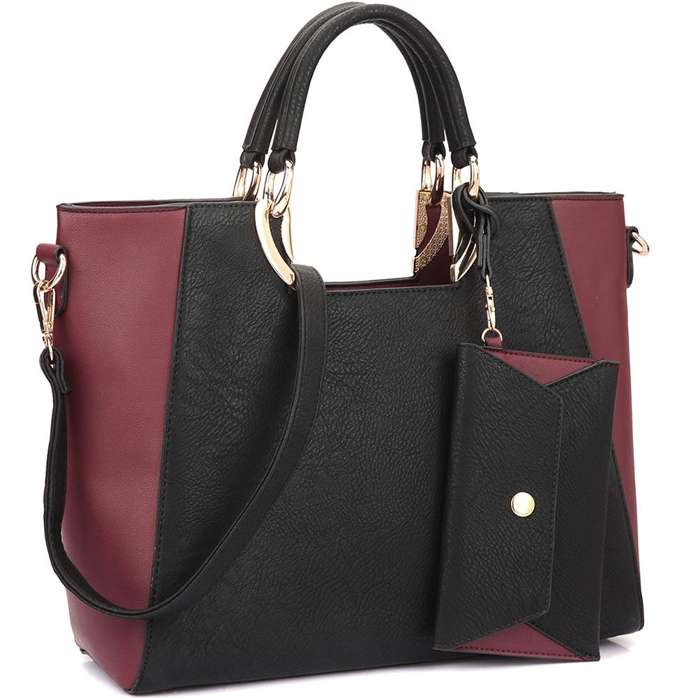 Dasein Women's Fashion Designer Color Block Satchel Tote Shoulder Bag Handbag Purse w/ Removable Coin Purse - Black photo