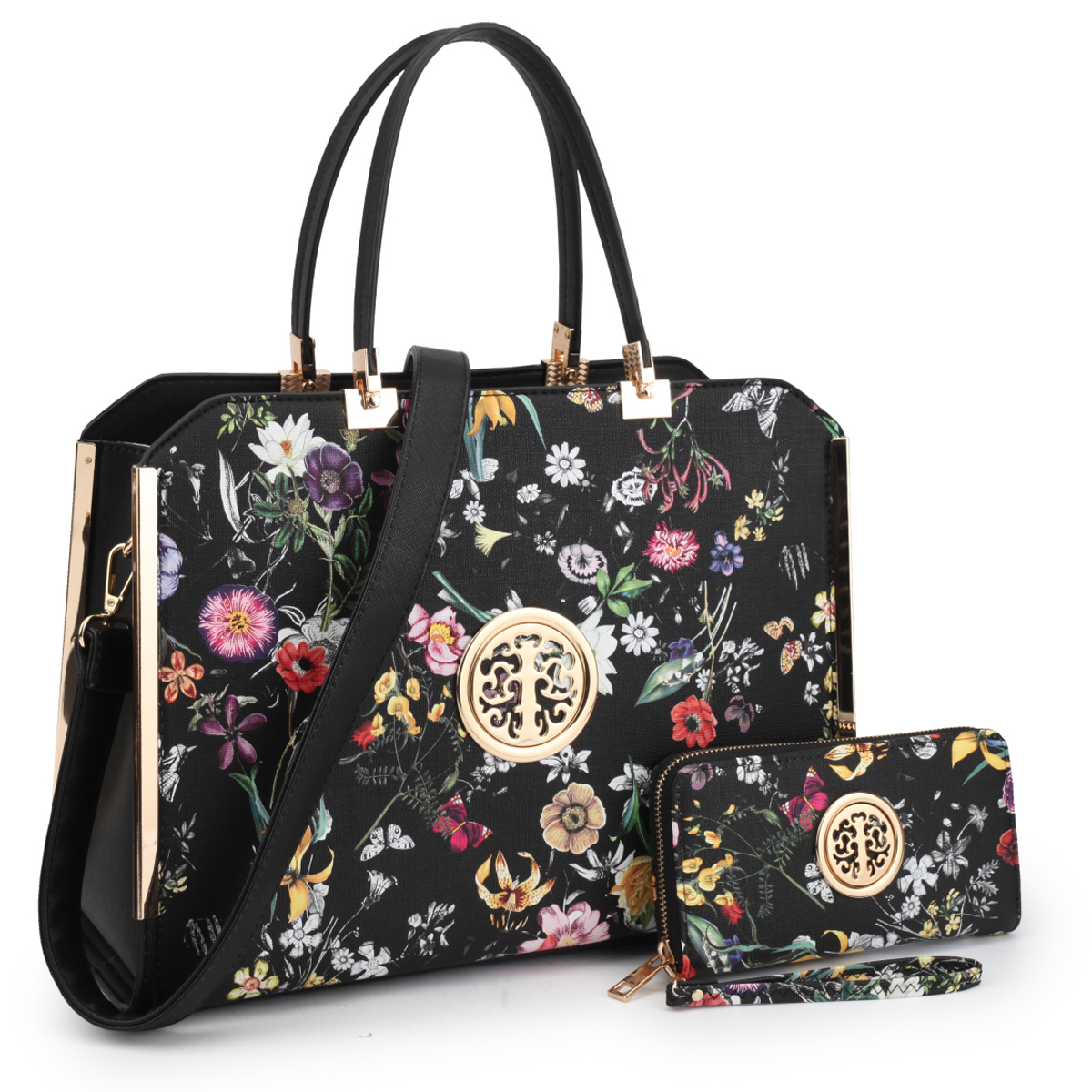 Dasein Womens Fashion Designer Purse Flower Pattern Faux Leather Briefcase with Matching Wallet - Black Flower photo