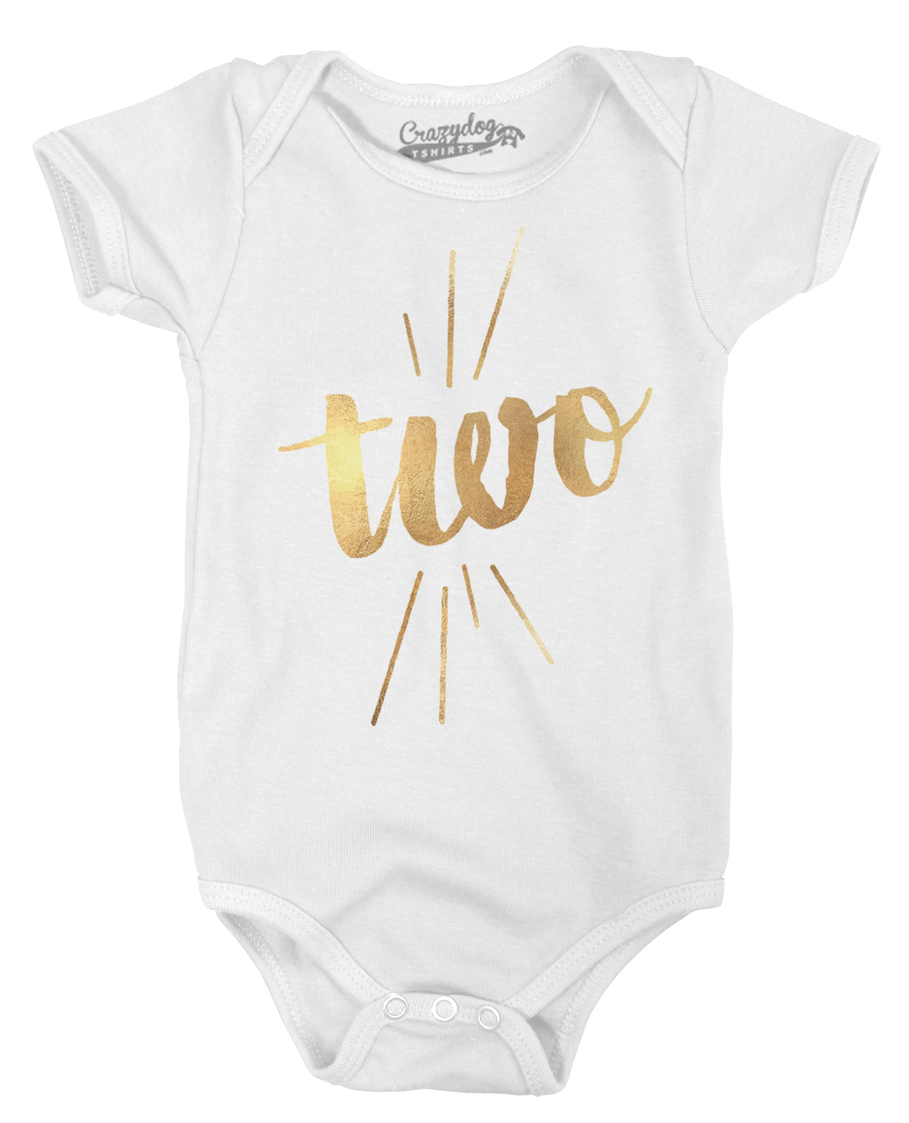 Baby Two Years Old Gold Shimmer Cute Birthday Celebration Infant Creeper Bodysuit