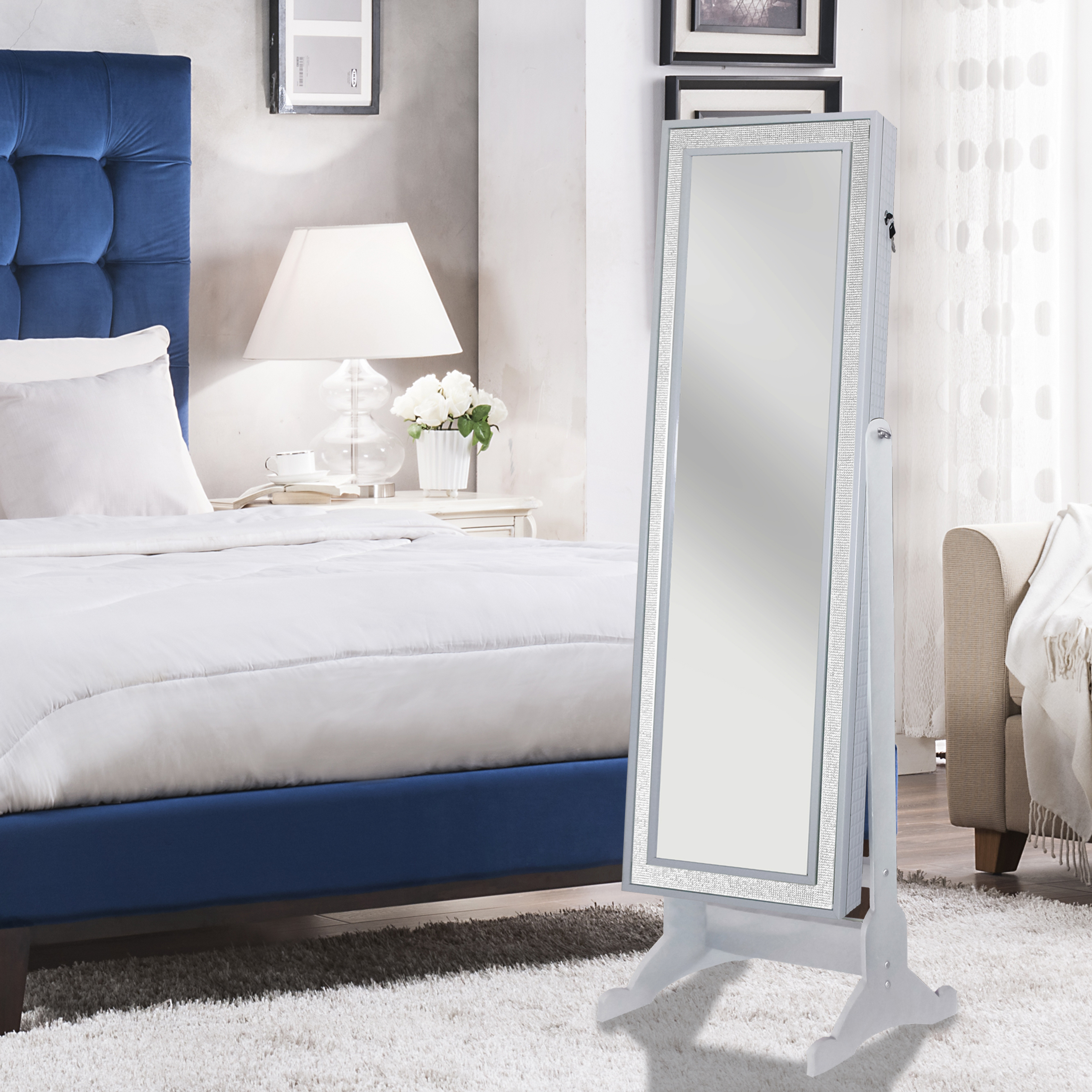 Chic Home Jazzy Modern Contemporary Crystal-Bordered Rectangular Jewelry Armoire Cheval Mirror Full-length - Pristine White 59397fa740f76c3ce91ca3e9