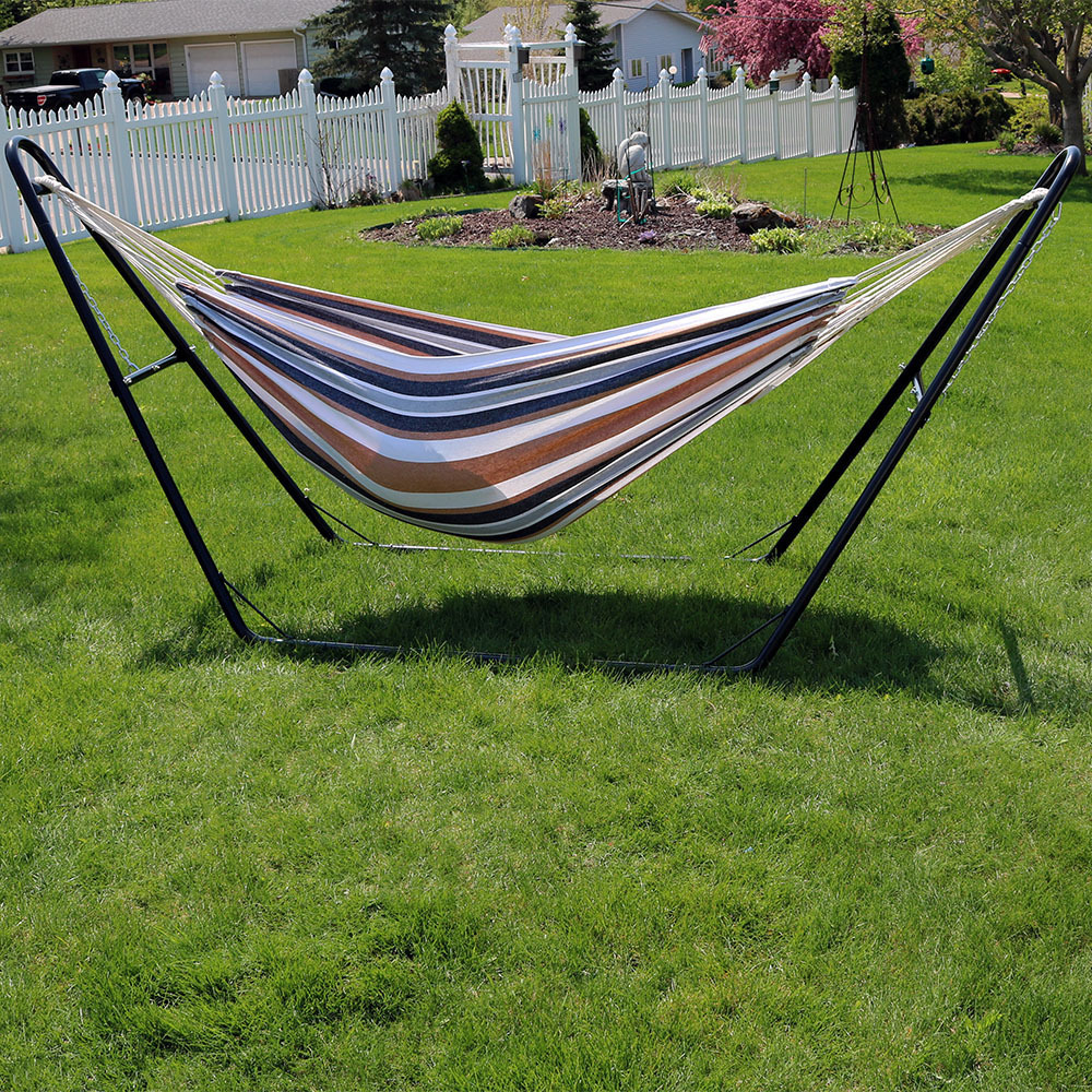 Sunnydaze Jumbo Brazilian Double Hammock with Universal Multi-Use Stand, Extra Long, Large 2 Person, Portable Hammock Bed, with Carrying Pouch, Max Weight: 440 Pounds, Choose Color 58ca90f82a00e469974d2136