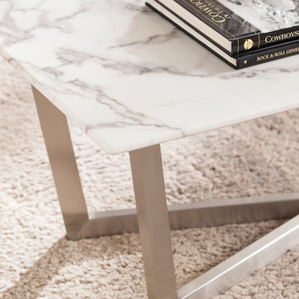 Wrexham Faux Marble Cocktail Table - Soft Ivory with Gray 594b6cc02a00e42e4c2f7b0e