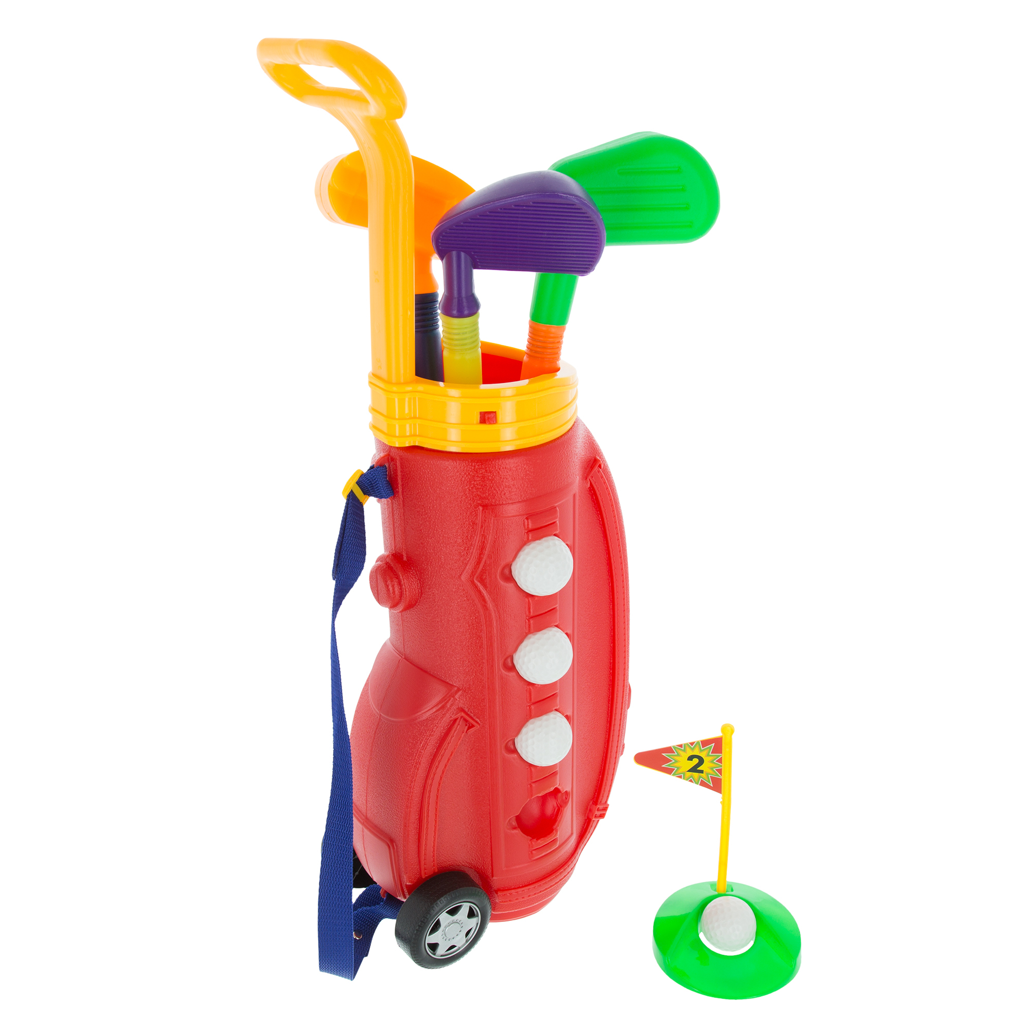 Toddler Toy Golf Club Play Set with Plastic Bag Wheels Clubs Putter Balls
