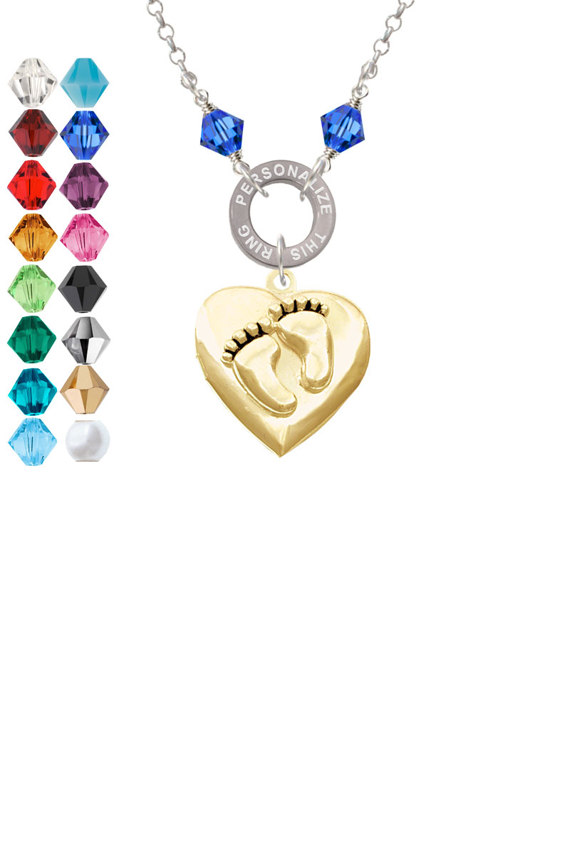 Gold Tone Baby Feet Heart Locket Custom Engraved Name Ring Crystal Necklace